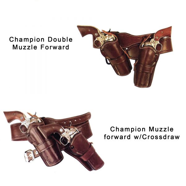 Kirkpatrick Champion muzzle forward and crossdraw western holsters