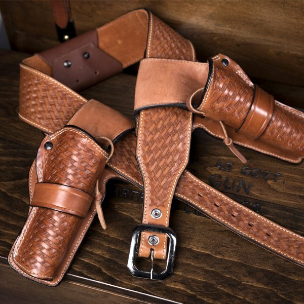 Kirkpatrick Leather Champion Western Holster in the tan Basket weave finish
