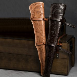 Custom hand engraved leather rifle scabbards