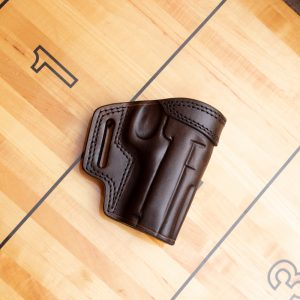 Kirkpatrick gun holster for the Taurus PT908 in brown